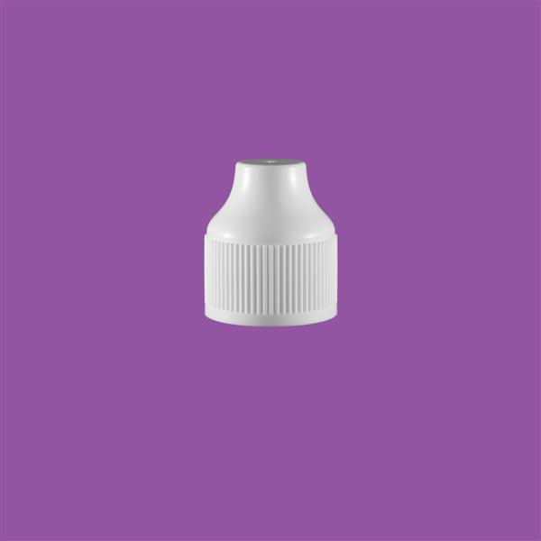 Cap 23mm Two Part Tamper Evident Child Resistant e-Flip Pointed Cap White