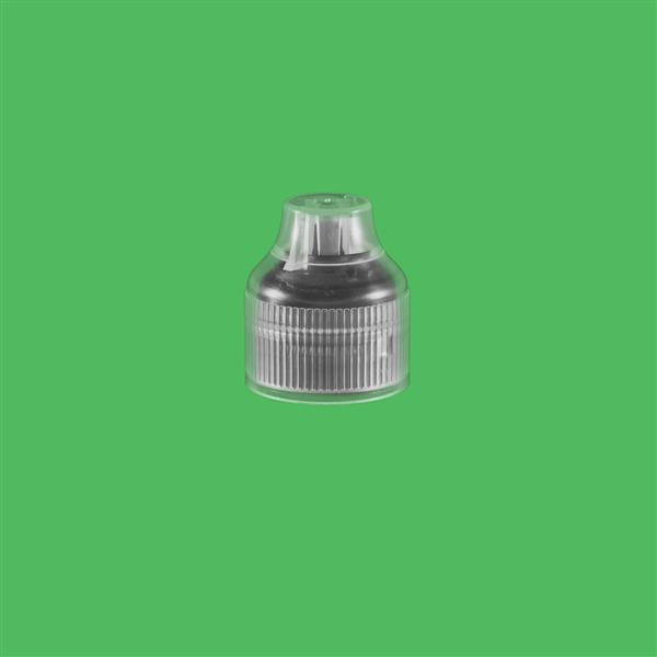 Cap 23mm Two Part Tamper Evident Child Resistant e-Flip Pointed Cap Natural-Black