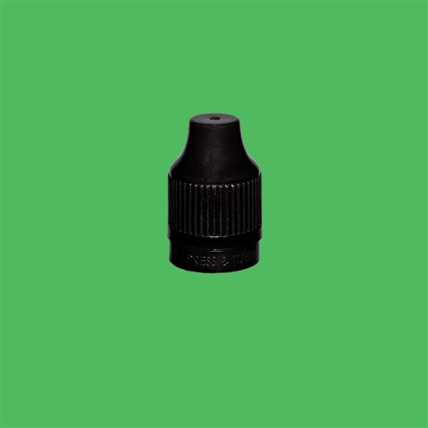 Cap 12mm Two Part Child Resistant Tamper Evident Black