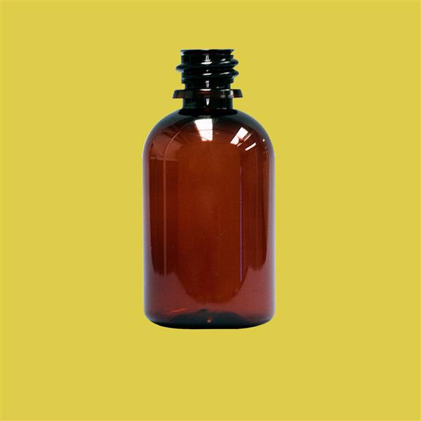 Bottle 50ml Boston Round Tamper Evident PET Amber 18mm